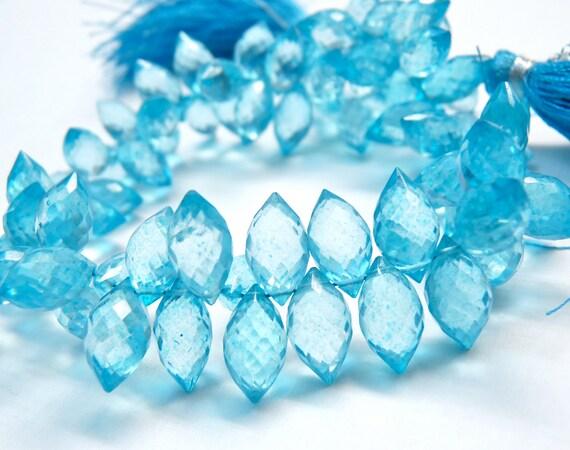 SALE AA Mystic apatite blue quartz gemstone briolette- micro faceted dew drop briolette-vibrant color-set of 18 Pcs-10-11 mm-Item No.40