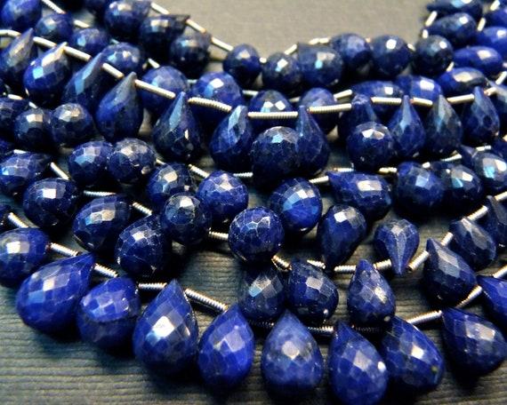 Reserved for H: Genuine blue sapphire teardrop gemstone briolette- September birthstone- 2 Pcs- 8-10 mm