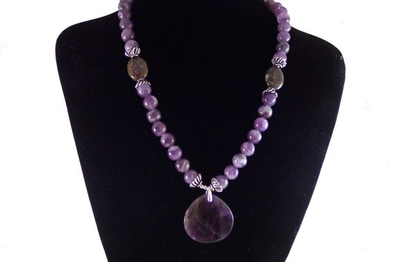 """Necklace - """"Nyla"""" Amethyst and Pietersite Necklace with Amethyst Pendant 20"""", Free Shipping"""