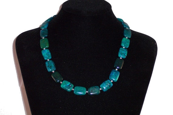 """Necklace - Azurite and Chrysocolla Gemstone and Sterling Silver 19.75"""", Free Shipping"""