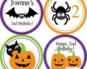 Halloween Party Circles - Purple Green Orange, Black Bats, Cats and Spiders Personalized Birthday Party Circles - A Digital Printable File