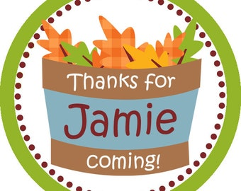 Autumn Stickers - Yellow Orange Brown and Green Leaves in a Basket Fall Personalized Birthday Party Stickers - 20 Round Sticker Labels
