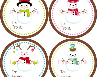 Snowman Holiday Gift Tag Stickers - Green Pink and Blue Winter Christmas Snowmen Gift Tags - 20 Round Christmas Labels