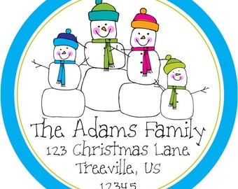 Holiday Address Labels -  Blue Friendly Winter Christmas Snowman Family Personalized Address Label Stickers - 20 Christmas Address Stickers