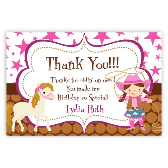 cowgirl thank you card pink stars brown polka dot girl