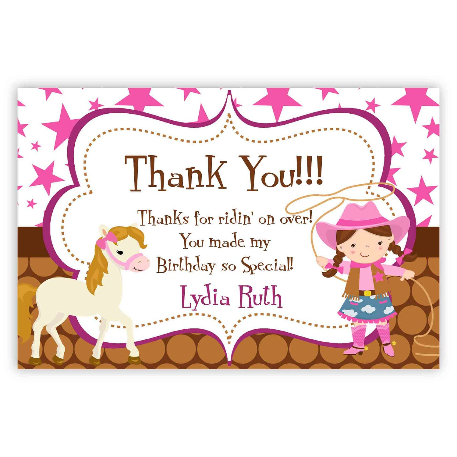 Cowgirl Thank You Card Pink Stars Brown Polka Dot Girl – Thanks for Birthday Card