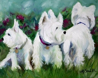 PRINT Westie West Highland Terrier Dog Puppy Art Oil Painting Flowers Gift / Mary Sparrow Smith