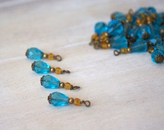 Bead Drop Charms - Czech Glass Beads Aqua Yellow