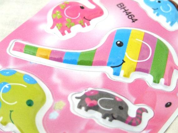 Cute kawaii sticker set pink elephants