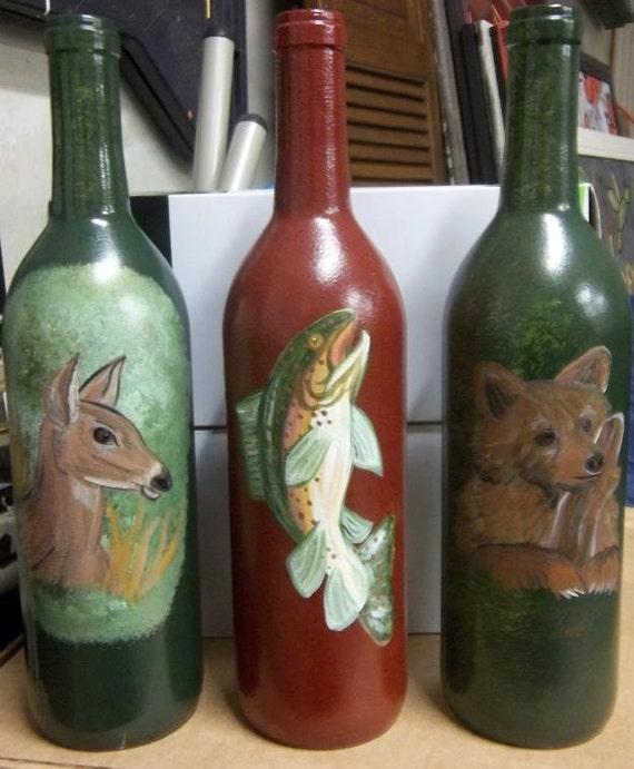 Items similar to painted wine bottles centerpiece art on etsy for Wine bottle artwork