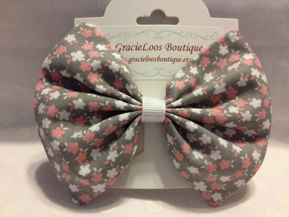 Pink and White Flowers on Gray Hair Bow