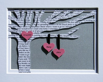 Personalized First Anniversary Gift - Wedding Song Lyrics Tree - Customized - 8x10 Frame Optional