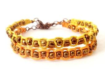 Macrame Bracelet Set, Orange and Yellow, Glass Beads, Beaded Bracelet