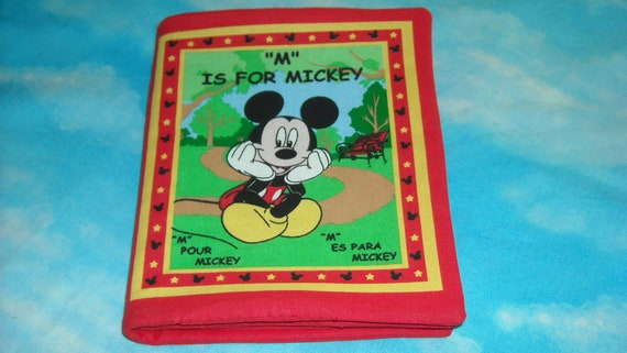 Soft Cloth Fabric Book , Baby or Toddler  M is for MICKEY,    Padded, 10 pages Mickey Mouse with English, Spanish, French