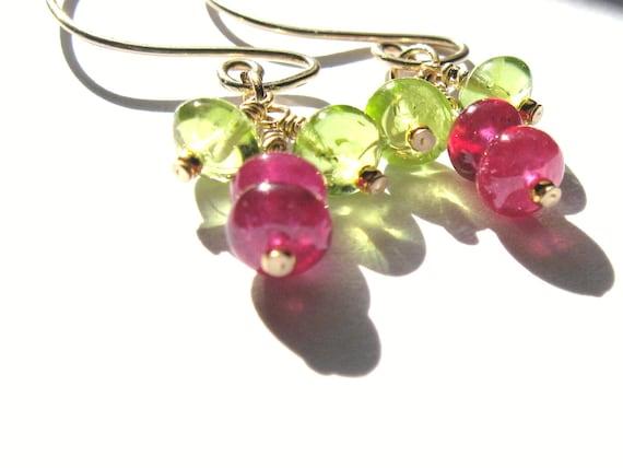 Longido Ruby and Peridot, 14k Gold Earrings, July Birthday, August Birthday,