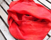"""Hand dyed red silk scarf 8"""" x 54"""""""