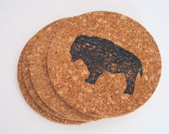 Set of 4 rustic hand stamped cork Buffalo/ Bison coasters.
