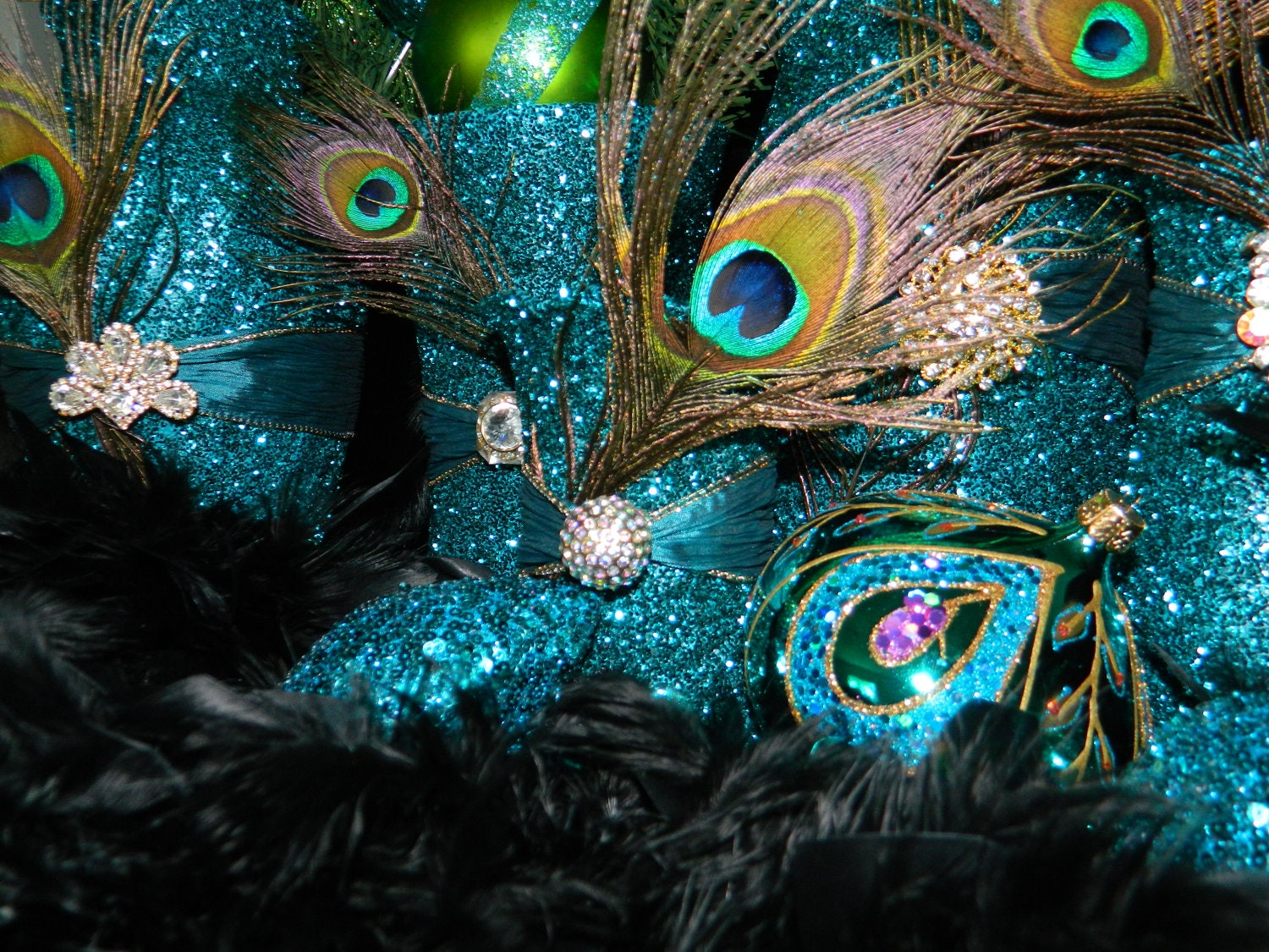 Peacock Themed Christmas Decorations