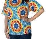 Caribbean Color Womens Shirt Blue Yellow Bold Print Short Sleeve Medium
