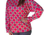 Long Sleeve Medium Pink Hearts Blue Stars Womens T-Shirt Bold Print - Valentine Fashion