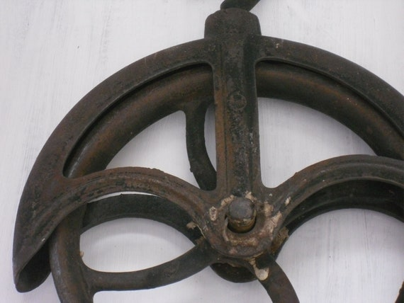 Antique Cast Iron Industrial Pulley