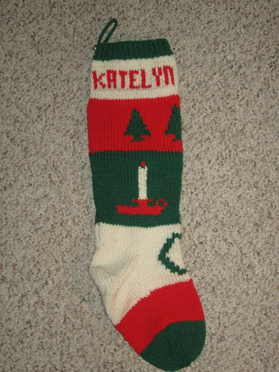 Knitting Pattern For Christmas Stocking Personalized : Personalized Hand knit Christmas Stockings / Sock by CapeKnitter