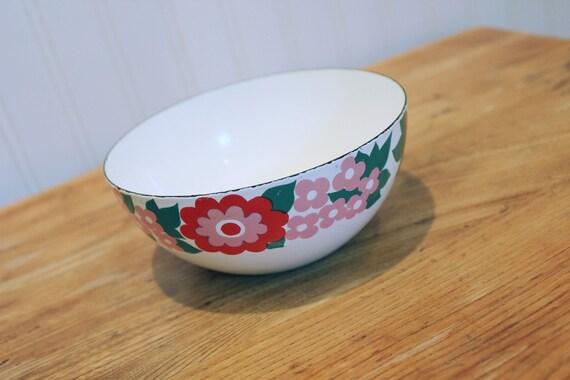Flower Power ... Vintage Finel Enamelware Bowl - Mid Century, Made in Finland