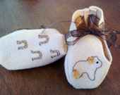 Tan Felt  Hand Embroidered Pony Baby Boy Moccasins  Crib Shoes  Infant Footwear Baby Booties  OOAK