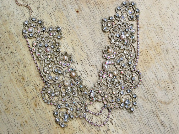 EXAMPLE - Collar necklace - swarovski embelleshed lace collar, statement necklace, bridal necklace, freshwater pearls
