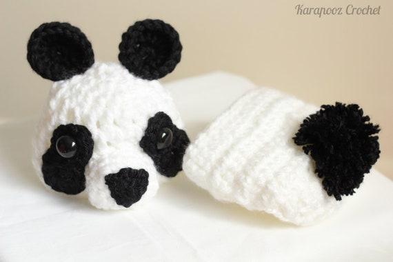 MADE TO ORDER Crochet Panda Set Photo Prop/newborn/0-3 months