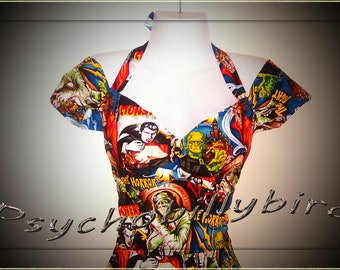 50s Rockabilly/Psychobilly Couture Pinup Horror Zombie Halloween Wiggle Dress