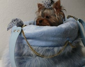 In Blue - Small Dog Carrier Bag - Cuddle Bag - Dog Carrier - Blue