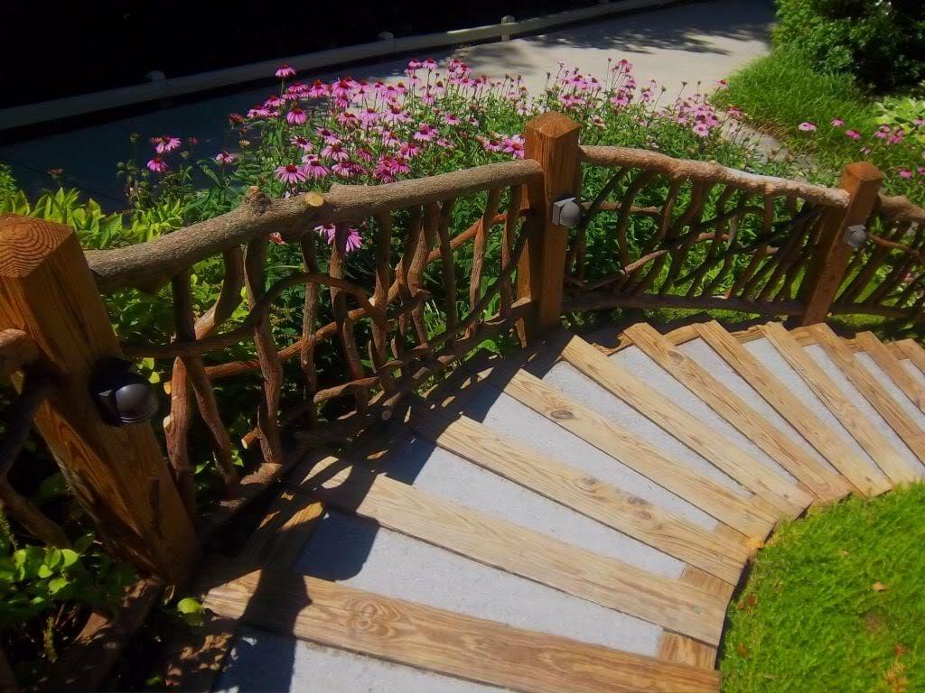 Rustic outdoor railing rails garden porch decor log cabin - Garden log decorations ...