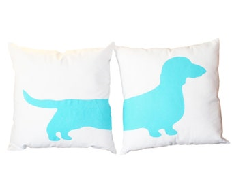 2 Modern Dachshund Pillows - Wiener Dog Home Decor WITH INSERTS