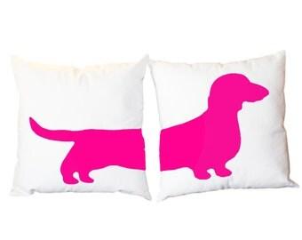 2 Modern Dachshund Pillows - Wiener Dog Home Decor