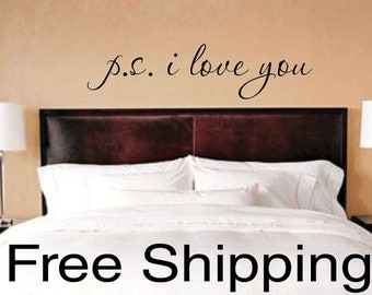 p.s. i love you vinyl wall decal sticker romantic quote love art 20 x 5