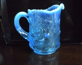 Vintage Opaque blue pressed glass creamer, 4 tall, probably Fenton, 1940 era. Cherry pattern