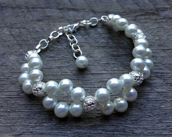 SUMMER SALE White Silver Bracelet Pearl Woven Cluster with Accent on Silver Chain