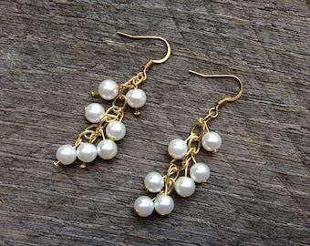 SALE White Pearl Earrings Bridal Earrings Dangle Cluster on Gold or Silver Hooks