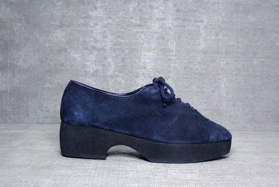 Vtg 80s Navy YSL LEATHER Yves Saint Laurent Avant Garde Platform Shoes 8 1/2