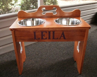 hand made elevated pet feeder ( large )