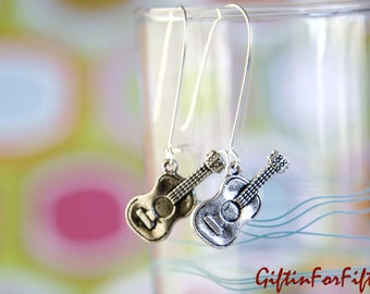 Me Gusta Mi Guitarra - Vintage Style Antique Silver Guitar Dangle Earrings OOAK Gifts For Under Fifteen Dollars by Giftin For Fifteen
