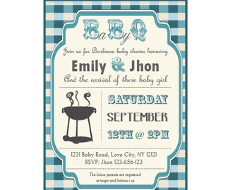 Delightful Baby Q Baby Shower BBQ Invitation Couples   Boy