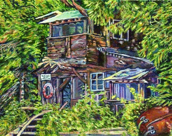 "Giclee Canvas PRINT - Boathouse, Denman Island - 8"" x 10""  - Signed Limited Edition coastal art"