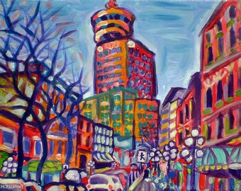 Giclee Canvas PRINT 8x10 - Harbour Centre From Gastown - Small City Art Signed Limited Editioned