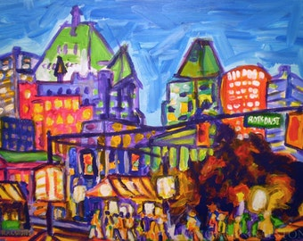 Giclee Canvas PRINT- Shopping on Robson - 8x10 Cities at Night Art