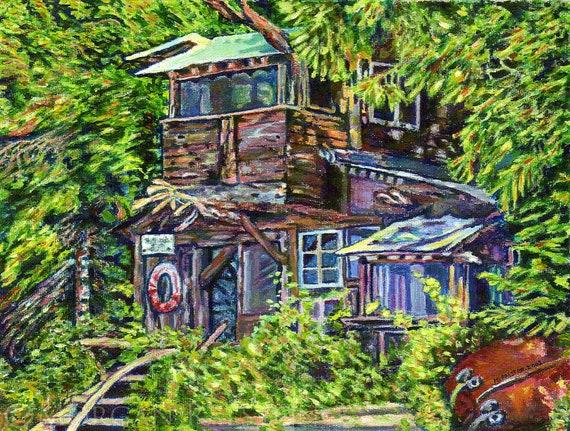 "Giclee Canvas PRINT - Boathouse, Denman Island - 8"" x 10""  - Signed Limited Edition coastal art"