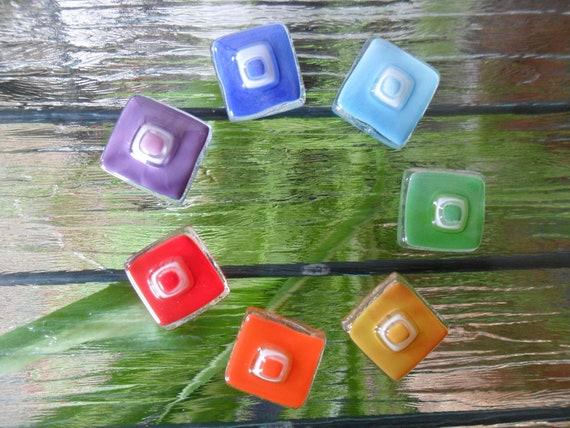 CHAKRA, RAINBOW, fused glass, glass tiles, handmade,  mosaic, glass art, craft projects