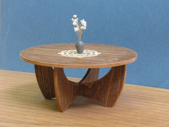 WOODEN COFFEE TABLE 1:6 Scale Model, Collectible Miniature Furniture, Modern Design
