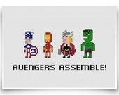Avengers Assemble Cross Stitch Pattern 8-bit Marvel Comics